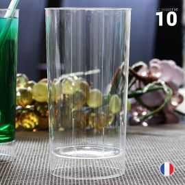 10 Verres tube 20 cl. Lavables - Réutilisables.