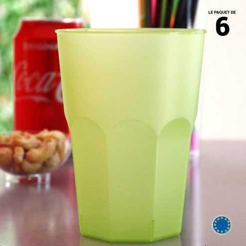 6 Verres cocktail verts 42 cl. Lavables - Réutilisables.