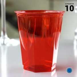 Verre opaline rouge 25 cl. Recyclable. Par 10.