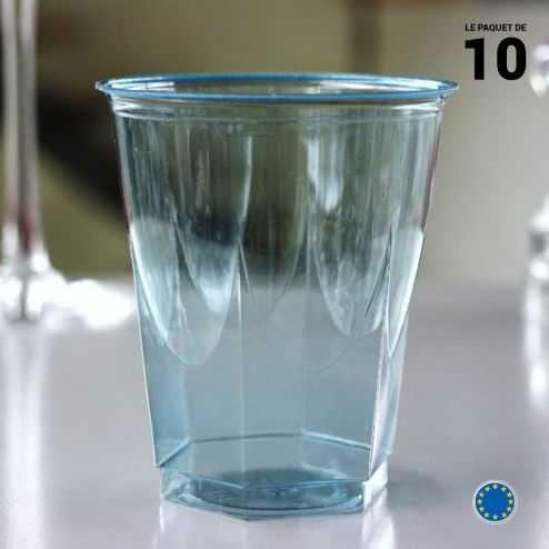 Verre opaline turquoise 25 cl. Recyclable. Par 10.