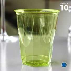 10 Verres cristal vert anis 25 cl. Lavables - Réutilisables.