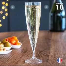 10 Flûtes cristal luxe 13,5cl Lavables - Réutilisables.