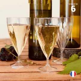 6 Verres à vin torsadés. Lavables - Réutilisables. 15-18 cl