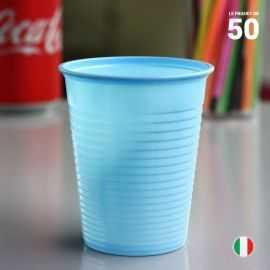 Gobelet bleu pastel 20 cl. Recyclable. Par 50
