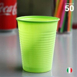 50 Gobelets vert anis 20 cl. Recyclables - Réutilisables.
