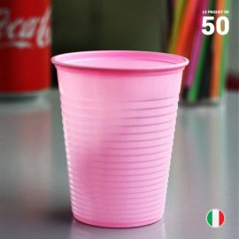 Gobelet rose pastel 20 cl. Recyclable. Par 50.