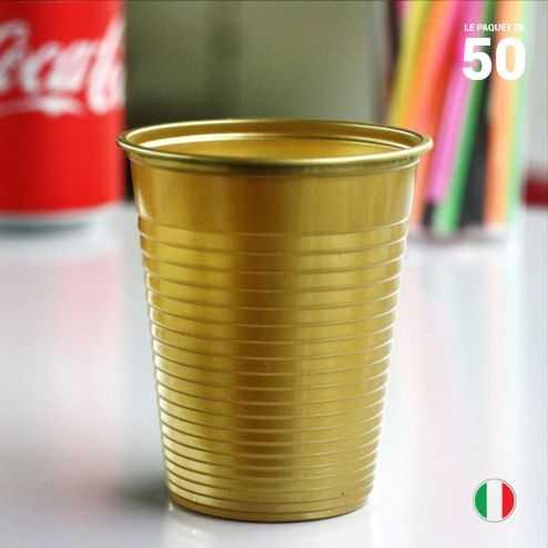 Gobelet Or 20 cl. Recyclable. Par 50.