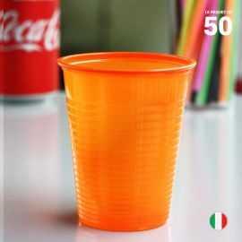 50 Gobelets mandarine 20 cl. Recyclables - Réutilisables.