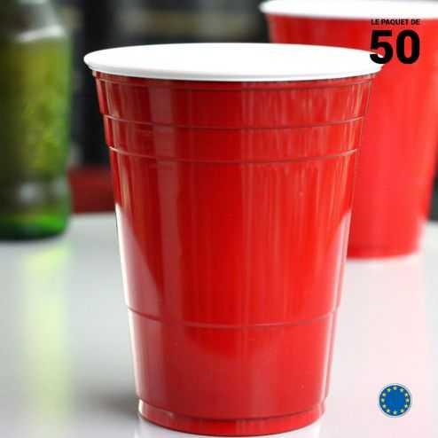 50 Gobelets rouges américains 47 cl