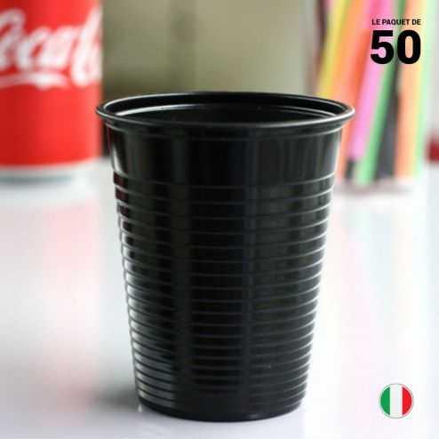 Gobelet noir 20 cl. Recyclable. Par 50.