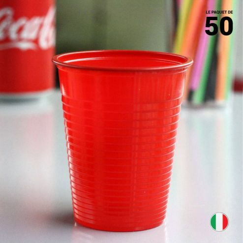 Gobelet rouge 20 cl. Recyclable. Par 50.