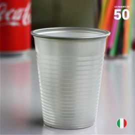 Gobelet gris argent 20 cl. Recyclable. Par 50.