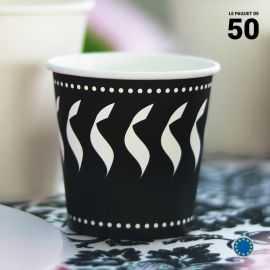 Gobelet carton décor noir et blanc 12 cl.