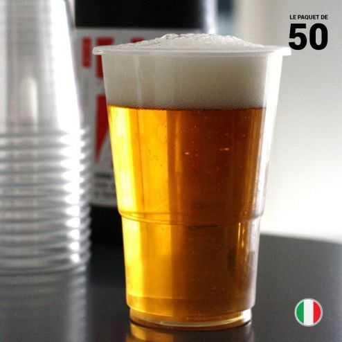 50 Gobelets bière 25/33 cl Recyclables - Réutilisables.