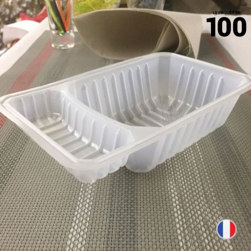 Barquette à frites 500 gr + compartiment. Par 100.