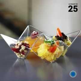 Coupelle verrine Origami. Recyclable - Réutilisable. Par 25.