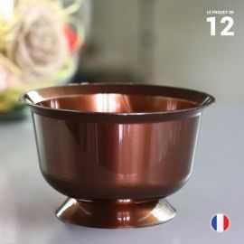 12 coupelles chocolat 23 cl. Recyclables - Réutilisables.