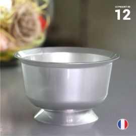 12 Coupelles grises 23 cl. Recyclables - Réutilisables.