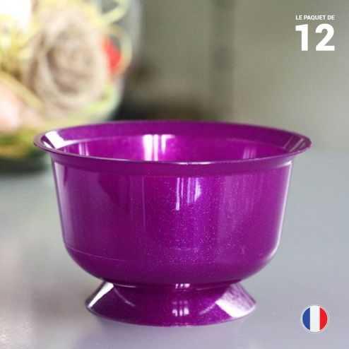12 coupelles prune 23 cl. Recyclables - Réutilisables.
