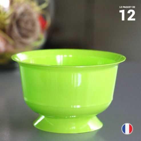 12 coupelles vert anis 23 cl. Recyclables - Réutilisables.