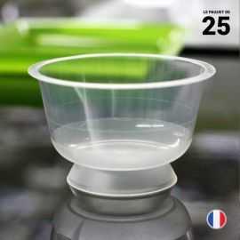25 coupelles chaleur 23 cl. Lavables - Réutilisables.