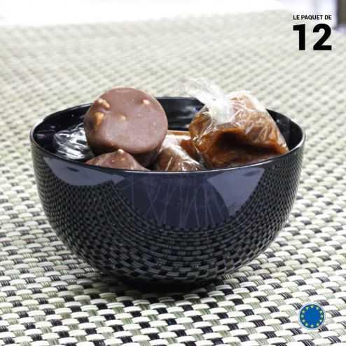 12 coupelles noires 15 cl. Lavables - Réutilisables.