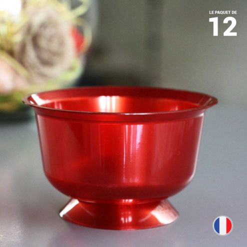 12 Coupelles rouges 23 cl. Recyclables - Réutilisables.