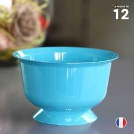 12 coupelles turquoise 23 cl. Recyclables - Réutilisables.