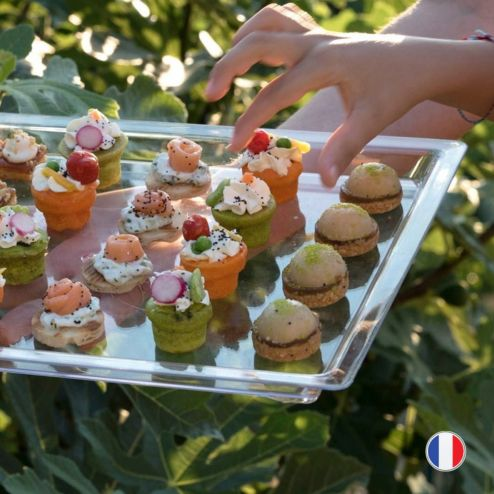 Plateau luxe transparent. Recyclable - Réutilisable.