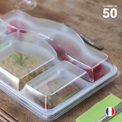 Plateau repas et couvercle. Recyclable, réutilisable. Par 50