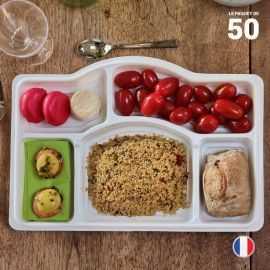 Plateau repas 5 cases. Recyclable - Réutilisable. Par 50