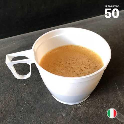 50 Tasses blanches 18 cl. Recyclables -Réutilisables.