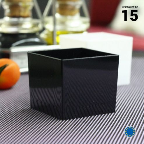 Verrine carrée noire 6 cl . Recyclable - Réutilisable. Par 15.