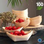 Verrine biodégradable bois naturel 14 cm. Par 100.