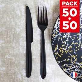 Pack 2 x 50 couverts luxe lavables et réutilisables.