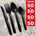 Pack 4 x 50 couverts luxe. Lavables - Réutilisables.