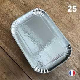 25 Plateaux argentés en carton 19 cm x 28 cm