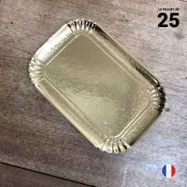 25 Plateaux en carton dorés 19 cm x 28 cm