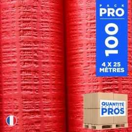 4 Nappes 25 mètres tendance lin. Rouge.