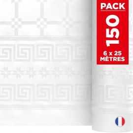 Pack 6 nappes blanches en damassé. 25 mètres.