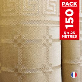 Pack 6 nappes en damassé kraft. 25 mètres.