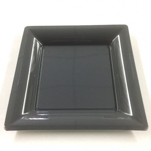 Assiettes en plastique gris carrées ardoise