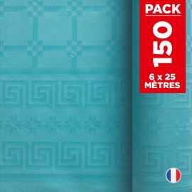 Pack 6 nappes en damassé turquoise. 25 mètres.