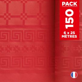 Pack 6 nappes en damassé rouge. 25 mètres.