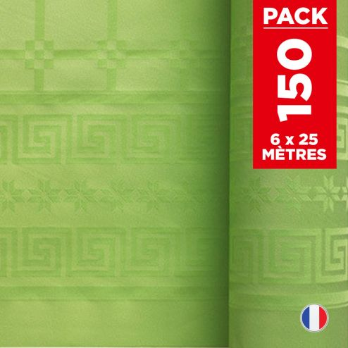 Pack 6 nappes en damassé vert anis. 25 mètres.