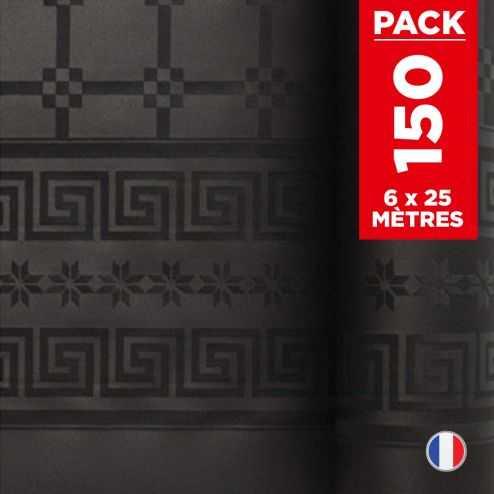 Pack 6 nappes en damassé noir. 25 mètres.