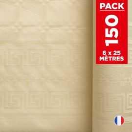 Pack 6 nappes en damassé ivoire. 25 mètres.