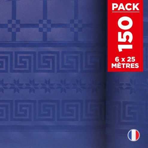 Pack 6 nappes en damassé bleu. 25 mètres.