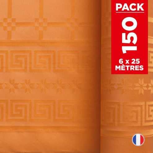 Pack 6 nappes en damassé mandarine. 25 mètres.