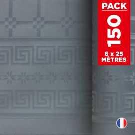 Pack 6 nappes en damassé gris béton. 25 mètres.